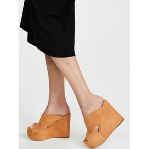 Sergio Rossi Alma Platform Wedge Suede Sandals